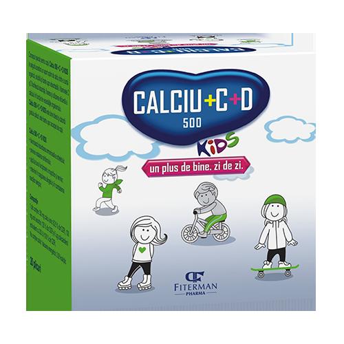 Calciu® 500 + C + D Kids, sachets